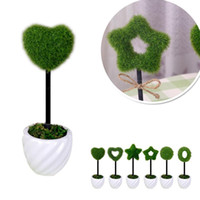 Wholesale 6 style five pointed star Heart design Artificial Flower Tree Mini Bonsai Desktop Green Plant Home Decor