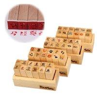 Wholesale 12Pcs Box Korean Mini Wood Diary Seal For Decor Journal Sketch DIY Photo Postcard Student Scrapbooking Favor Stamp Set
