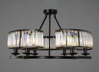 antique crystal ceiling lamps - European Black Metal Loft Ceiling Light Sector Shape Living Room Antique LED Ceiling Lamp Study Room Six Heads K9 Crystal Lamp