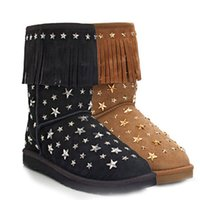 Wholesale 2014 australia brand hot selling sunyou waterproof warm women s snow fringed rivets leather boots