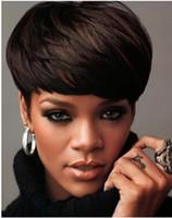 Cheap Charming Rihanna's Hairstyle Brazilian Virgin Hair Short 100% Human Hair Cheap Wigs About 8 Inches