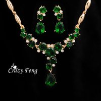 Wholesale Women Fashion k Yellow Gold Filled CZ Diamond jewelry sets Austrian crystal Flower Wedding Jewelry Sets
