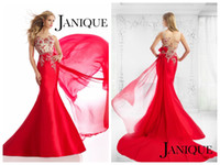 Wholesale 2015 Janique Evening Dresses Mermaid Bateau Sweep Train Red Satin Sheer Back Sleeveless Crystal Applique Beaded Evening Gowns