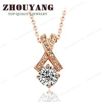 jewellery - Top Quality ZYN302 Crystal Necklace K Rose Gold Plated Fashion Jewellery Nickel Free Pendant Crystal