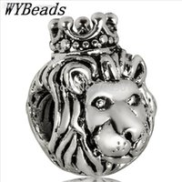 lion charms - Sterling Silver Charm Crown Lion European Charms Silver Beads For Snake Chain Bracelet DIY Fashion Jewelry