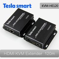 Wholesale Tesla Smart High quality HDMI KVM Extender one Extender TX one Extender RX by IP with IR P Black
