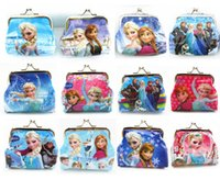 Wholesale New Design Frozen Coin Bag Coin Purse With Iron Button PVC Money Wallet Fashion Key Holder Good Christmas Gift for Kids