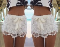 Wholesale 2015 women Celeb elegant lace Pants with bowknot lady beach casual short pants High Waist Trousers Summer Shorts two color S372L
