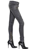 low rise jeans - BALMAIN Stretch Skinny BIKER Gray Denim Low Rise Women s Jeans Brand New Sz