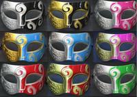Wholesale 20pcs Mens Carving flower Mask Halloween Masquerade Masks Venetian Dance party Mask Men mask