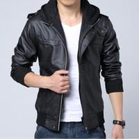 2014 hot men mens winter jacket mens leather jacket with fur hood leather jacket
