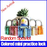 auto process - 5pcs new arrival random mini colored pick transparent practice lock for gift padlock Luggage locks Process lock