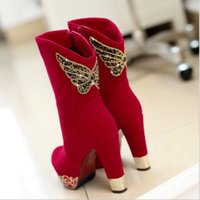 red wing boots - Woman Mid Calf Winter Boots Diamonds Pleuche Boots Warm Lining Red Boots Black Boots Phoenix Wing Boots