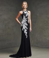 Cheap 2016 Elegant Sleeveless Satin Scoop Neckline Appliques Mermaid Spaghetti Long Evening Dresses Evening Gowns