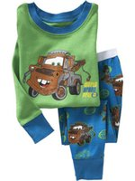 automobile springs - Home wear For Boys Long Sleeve Kids Pajamas Automobile Cartoon Children Outfits Set Fit Age K913