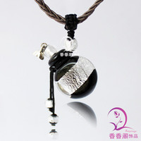 glass bottle stopper - perfume bottle pendant necklace pendant essential oil bottle oblate silver high grade glass stopper rope
