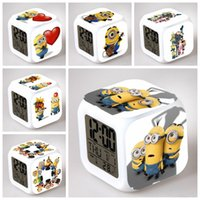 plastic table clock - 2015 New Children Clock Daily Dlarms Colors Thermometer Change Glowing Clocks Minions Design D Cartoon Digital Desk Table Alarm Clock