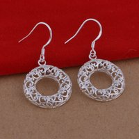 Wholesale Foreign trade jewelry plated sterling silver earrings hollow circular hollow flower earrings Korean popular spot