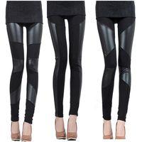 Polyester Fashion leggings Korean Style Sexy Women Slim Black Leggings, PU Leather Splicing Stretchy Elastic Waist Thin Trousers Tights legging fitness G0653