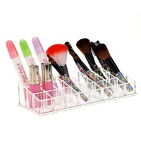 Wholesale Practical Acrylic Transparent Grids Storage Box Clear Lipstick Lip Gloss Cosmetic Makeup Organizer Office Supplies order lt no track