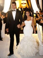 Cheap Sexy Spaghetti Straps Lace Ruffles Mermaid Wedding Dresses 2015 Kim Kardashian Real Model Tiers Organza Chapel Train Bridal Gowns