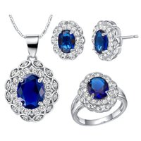 Wholesale Sterling Silver Jewelry Sets K Gold Sapphire Jewelry Colors Bridal Jewelry Sets Crystal Women Jewelry Stud Earrings Ring Necklace