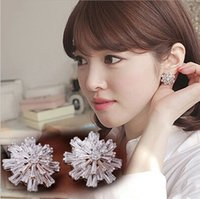 Wholesale quot Counters quality with micro drill set zircon snowflakes big earrings Flower earrings Blasting flash grandiose stud earrings