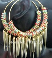 basketball wives - Amazing beautifu Multicolor Crystal spacers beads diy Gold Basketball wives earring hoop Jewelry Pairs