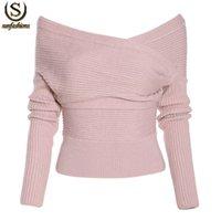 Cheap Women sweater leopard Best Short Slash Neck sweater vintage