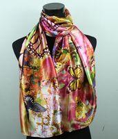 butterfly scarf silk - 1pcs Yellow Black Butterfly Pink Women s Fashion Satin Oil Painting Long Wrap Shawl Beach Silk Scarf X50cm