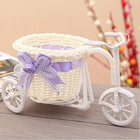 Wholesale Novel designs wheel round basket rattan floats flower vase flowerpots containers small flower bike flower pot