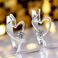 Wholesale Fashion silver plated heart earrings crystal earrings Heart Ear Cuff Clip Earrings For Women Jewelry