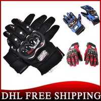 Wholesale Men Motorcycle Bike Bicycle Full Finger Protective Racing Gloves Size L XL Black Blue Red Frees Drop Shipping Pair