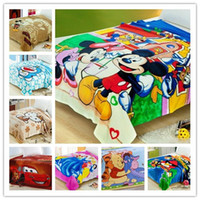 Cheap 38Pattern Baby Children Kids Favor Cartoon Blanket Car Doraemon KT Cat Mouse Brand Bed Sheet 1.5*2M EMS DHL FEDEX Free I4526