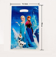 Wholesale New Frozen Princess Gift wrapping Bag Party Supplies Anna Elsa Tote Bag Birthday Party Candy Bag Paper Gift Bag Handbag
