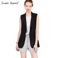 Cheap 2015 New Arrival Women suit jacket coat Sleeveless long women business suits Black casual vests jaqueta feminina plus size