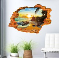 2016 3D Sailing Broken Wall Mural Beach Sun Removable Wall Sticker Art  Vinyl Decal Room Decor