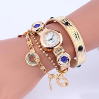Cheap 100pcs lot 2015 Style women leather watch punk rivets long straps diamond bracelet chain quartz round flower pendant ladies watches 6 colors