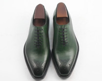 Oxfords craft shoes - Men Dress shoes Oxfords shoes Custom handmade shoes Men s shoes Genuine craft leather color green HD