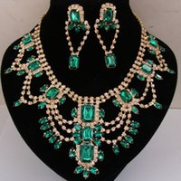 Wholesale 5 Colors Luxury Bridal Party Earring Necklace Jewelry Set Crystal Rhinestone