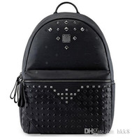 Wholesale Fashion Leather Handbags for Women MCM High Quality Rivet Backpack Rain EXO Celebrity Same Bags Big Capacity Travel Rucksack Drop Shipping