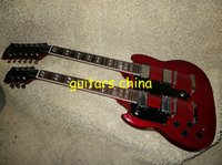 Cheap 2015 NEW Left Handed Red DES1275 Double Neck Electric Guitar 6 12 strings from china Free Shipping
