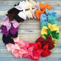 Wholesale Hair accessories ribbon bows with Alligator clip Grosgrain ribbon bowknot hair clips boutique colors inches