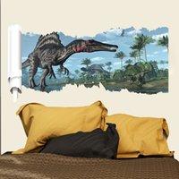 Cheap Dinosaurs wall stickers creative wall stick 3D wall stickers children bedroom decorate cartoon stickers Jurassic park