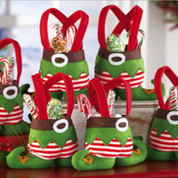 Wholesale New Xmas Decor Fairy Elf Boots Shoes Father Christmas gift wedding holiday Santa Pant Candy Bag