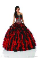 beads on ribbon - Puffy Ball Gown BlingBling Pleats Organza quinceanera dresses with crystals fitted on the bodice black and red ruffles shinny sequins