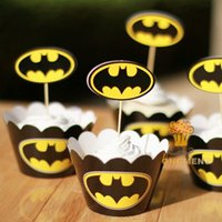 cupcake boxes - Movie Batman Cupcake Wrapper Decorating Boxes Cake Cup With Toppers Picks For Kids Birthday Christmas Decorations Supplies