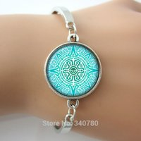 aztec pictures - Mandala charms Silver plated bagnle summer jewelry picture Aztec symbol fashion jewelry women metal charm cuff bangle