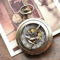 Wholesale Fashion Jewelry the hunger game Retro Necklace Pocket watch new russia hunger games pocket watch bronze vine cool bird