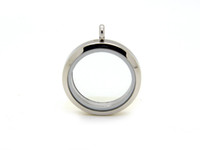 Lockets stainless steel charms - Stainless Steel Silver Plain Round Screw Floating Charm Lockets